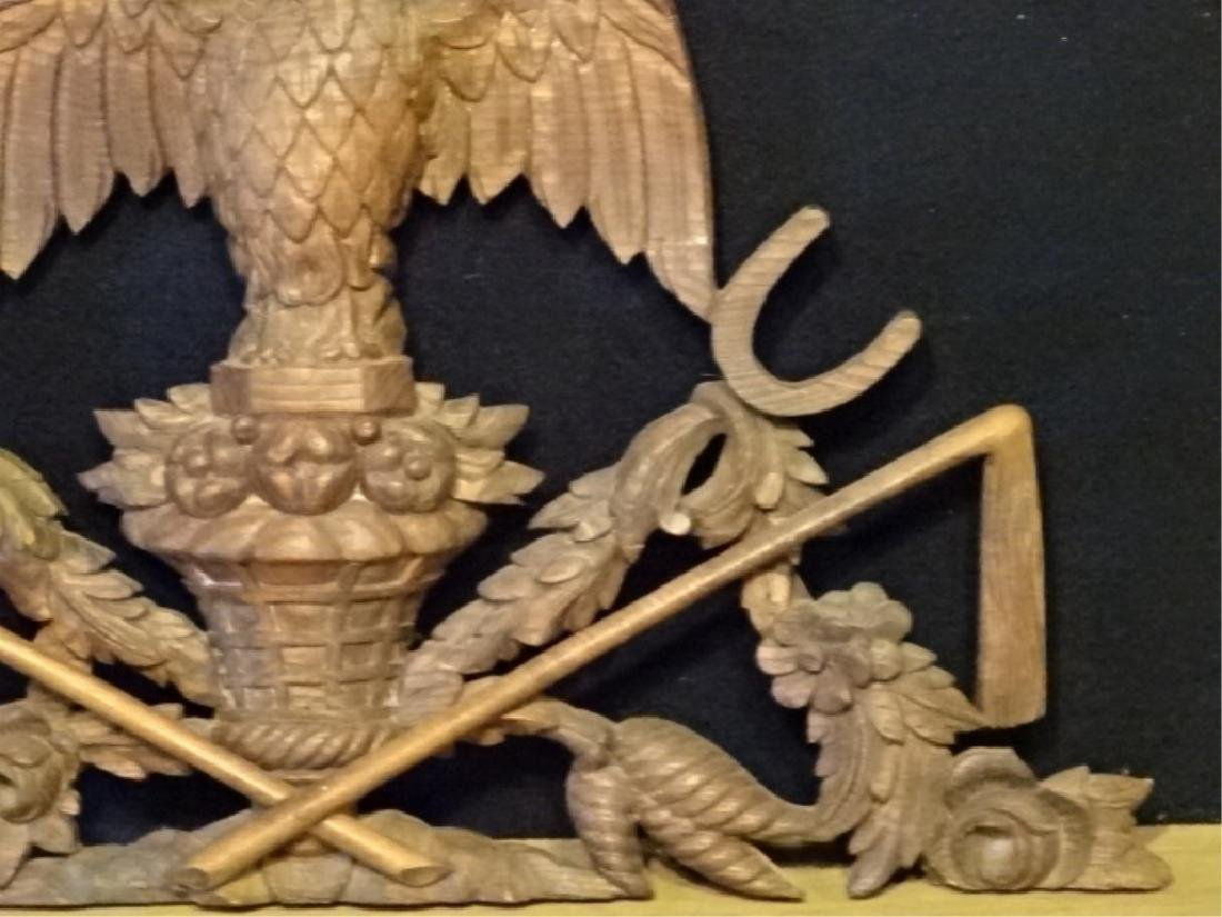 19TH C. WOOD EAGLE WALL PLAQUE, VERY GOOD CONDITION - 4