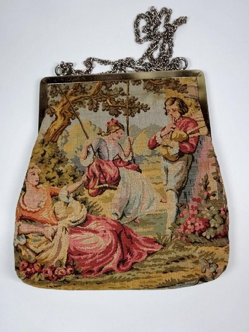 """VINTAGE TAPESTRY PURSE, JR OF FLORIDA, APPROX 8.5"""" X 8"""" - 3"""