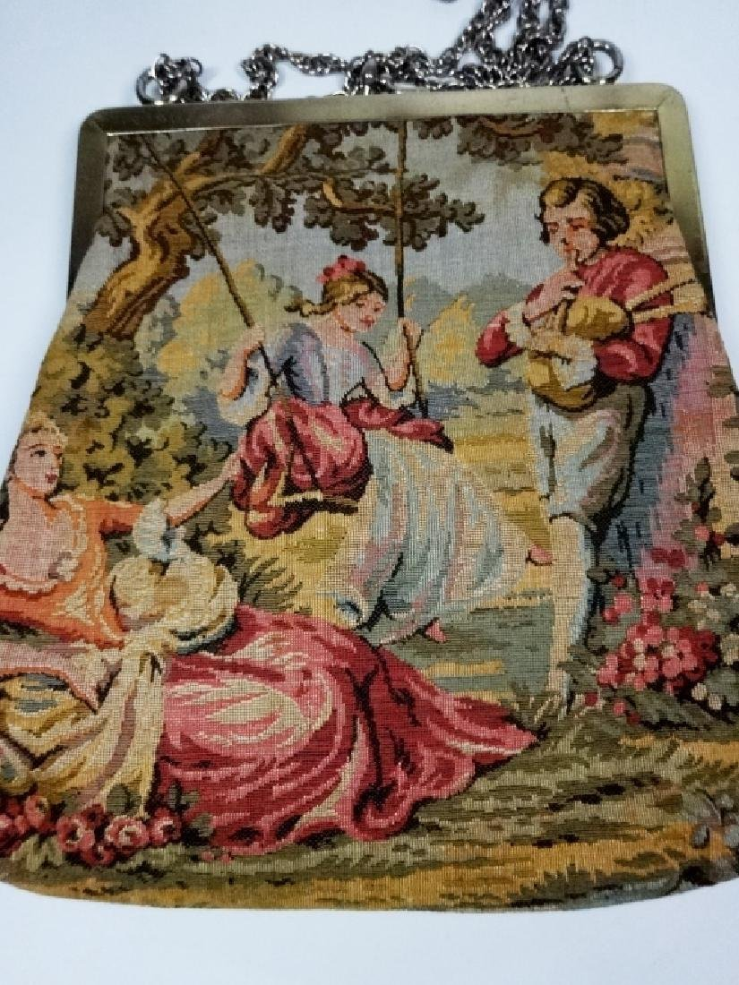 """VINTAGE TAPESTRY PURSE, JR OF FLORIDA, APPROX 8.5"""" X 8"""" - 4"""
