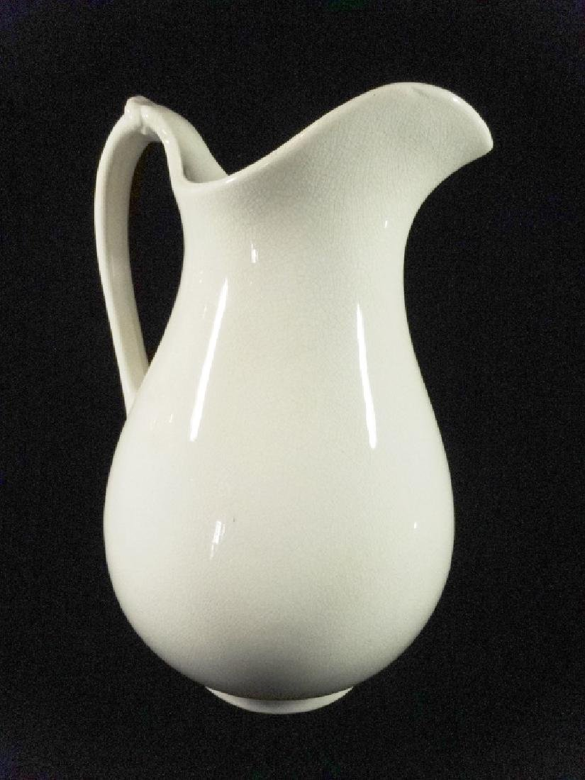 """ANTIQUE WHEELING POTTERY CO. PITCHER, WHITE, APPROX 13"""""""