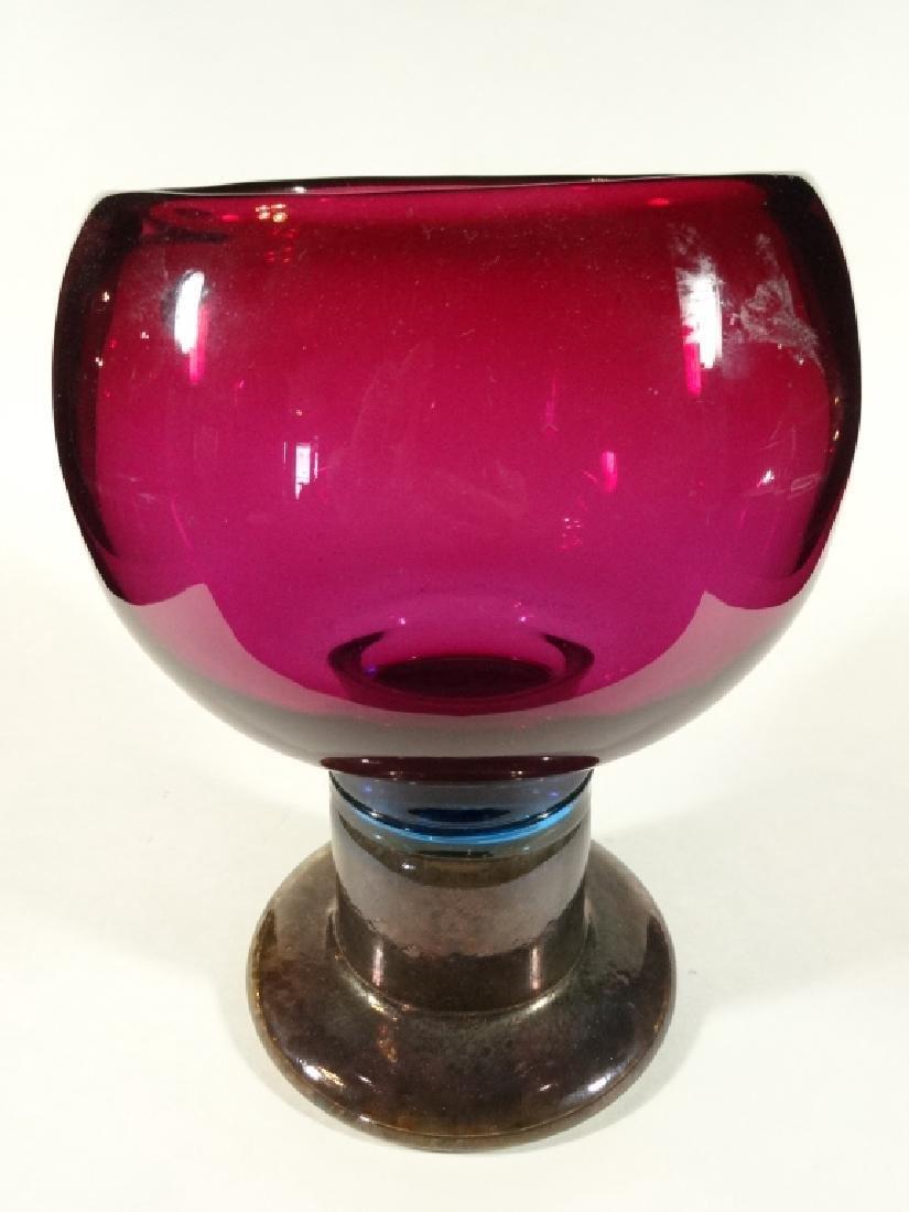 ART GLASS PEDESTAL BOWL, PARTIAL ETHAN ALLEN LABEL,