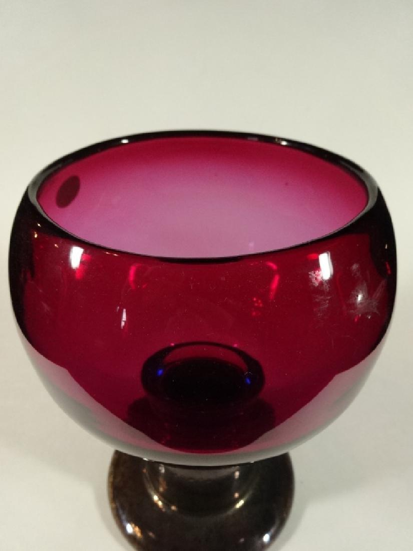 ART GLASS PEDESTAL BOWL, PARTIAL ETHAN ALLEN LABEL, - 4