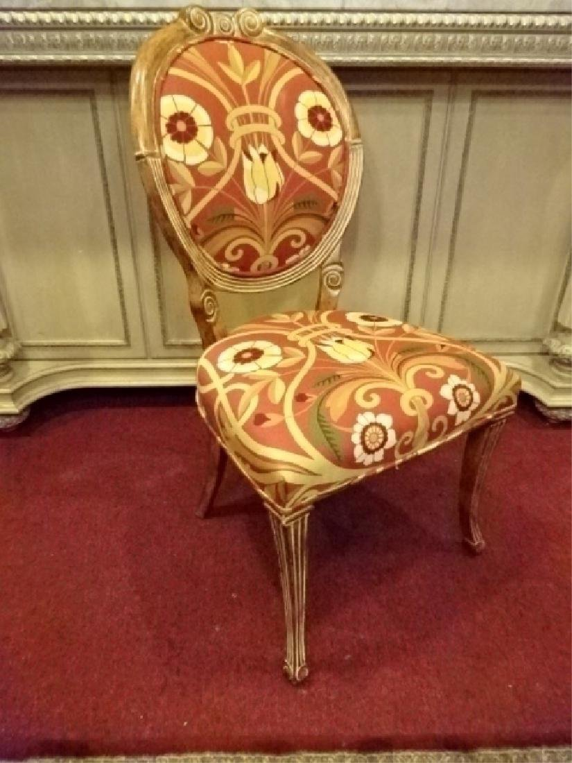 UPHOLSTERED WOOD SIDE CHAIR, OVAL BACK, CONTEMORARY