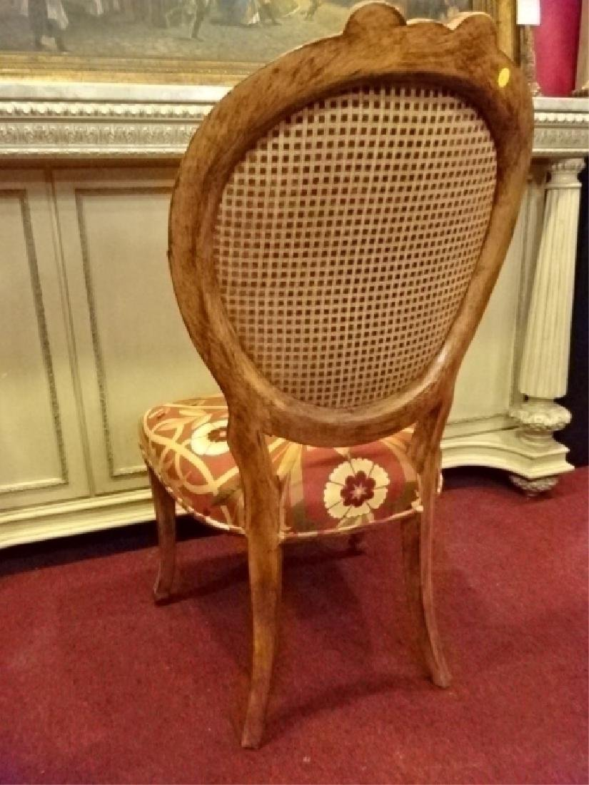 UPHOLSTERED WOOD SIDE CHAIR, OVAL BACK, CONTEMORARY - 5