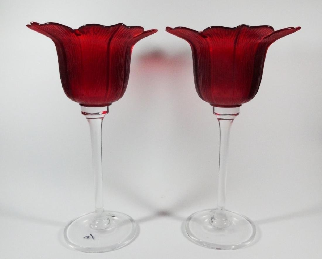 2 PC JM GLASS PORTUGAL RED & CLEAR GLASS CANDLE