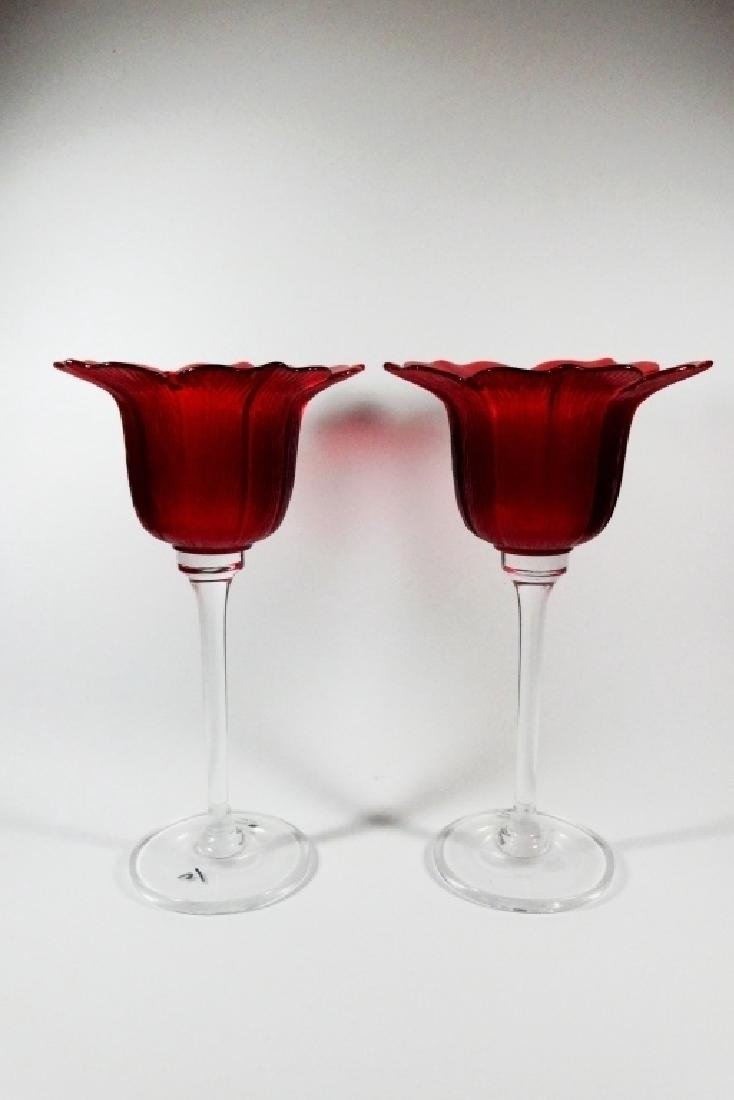 2 PC JM GLASS PORTUGAL RED & CLEAR GLASS CANDLE - 2