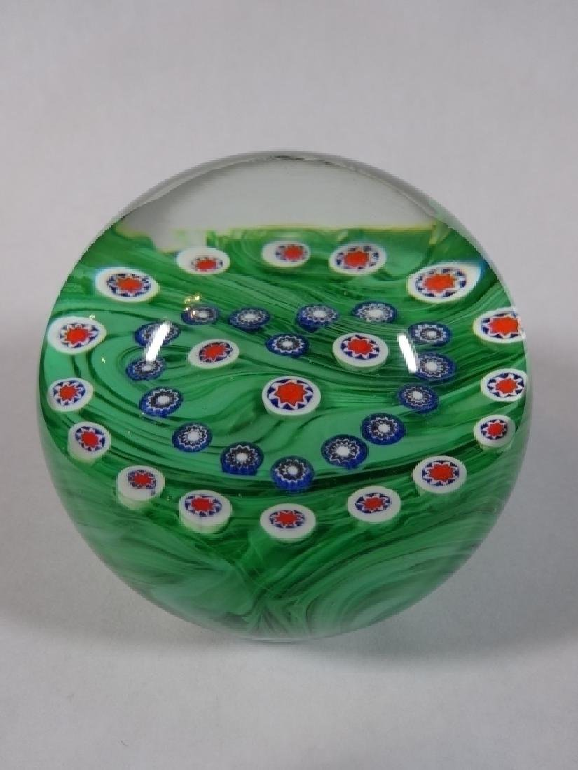 HANDBLOWN CRYSTAL PAPERWEIGHT, CLEAR WITH GREEN AND