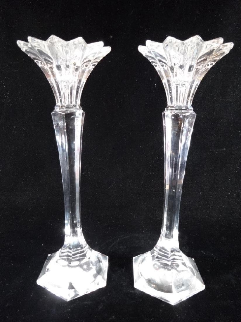 PAIR MICASA AUSTRIAN LEAD CRYSTAL CANDLE STICKS,