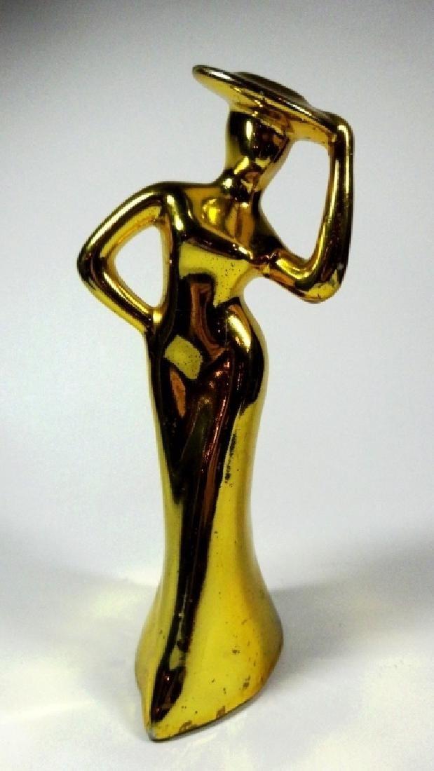 VINTAGE GOLD FINISH ART DECO WOMAN FIGURINE, PORCELAIN,