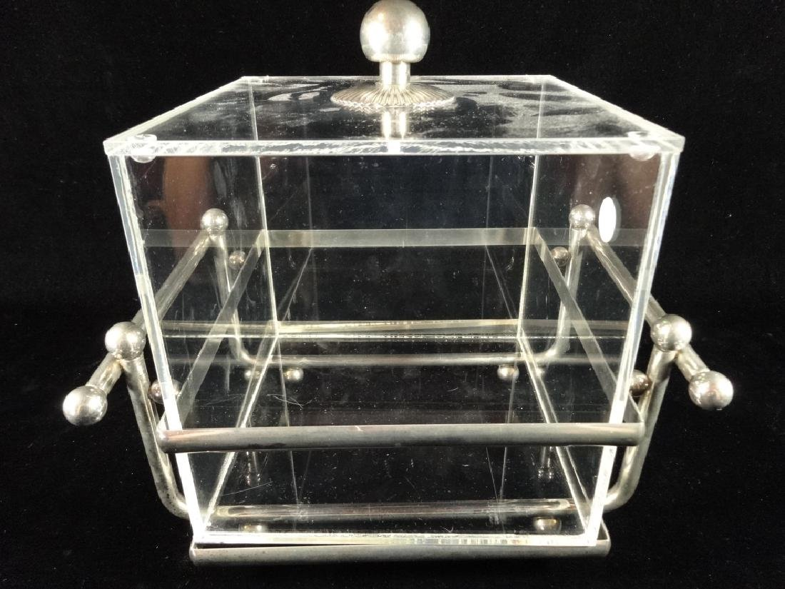 "LUCITE ICE BUCKET WITH LID, METAL BASE, APPROX 11"" X"