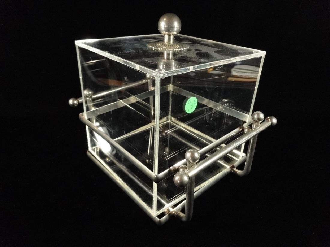 """LUCITE ICE BUCKET WITH LID, METAL BASE, APPROX 11"""" X - 3"""