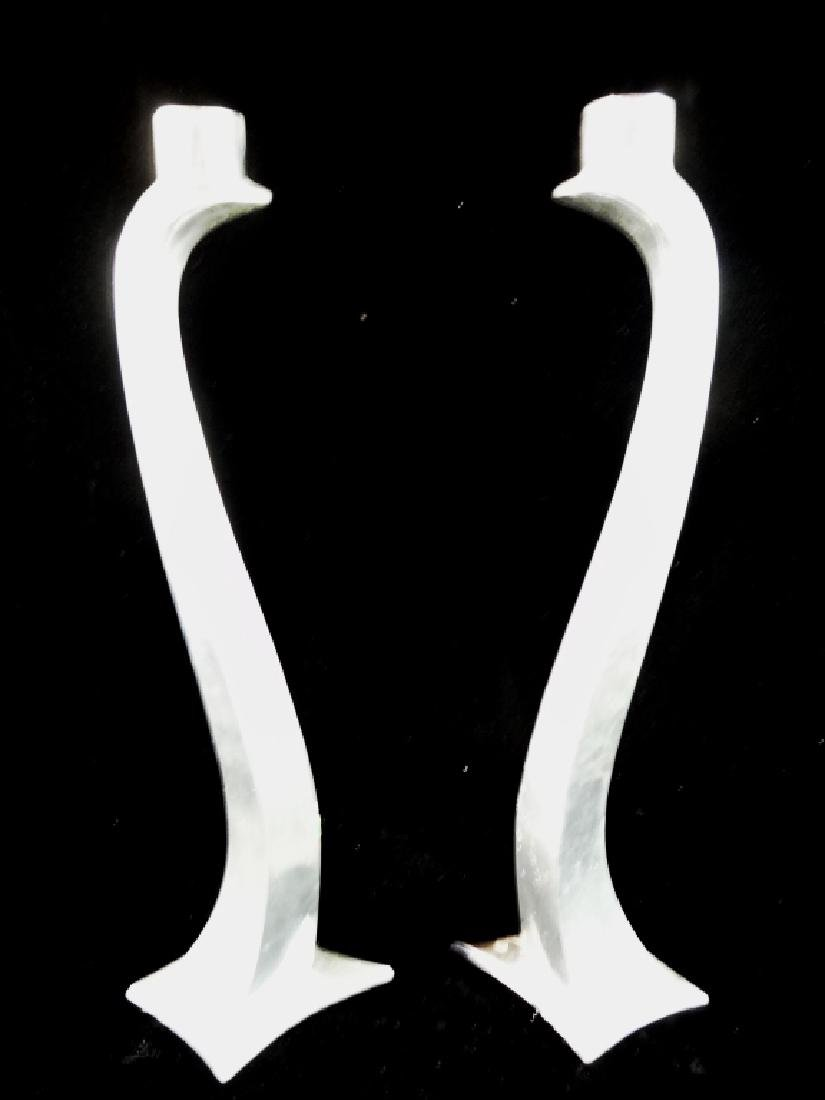 """PAIR NICKEL FINISH CANDLE HOLDERS, APPROX 15"""" X 4"""""""