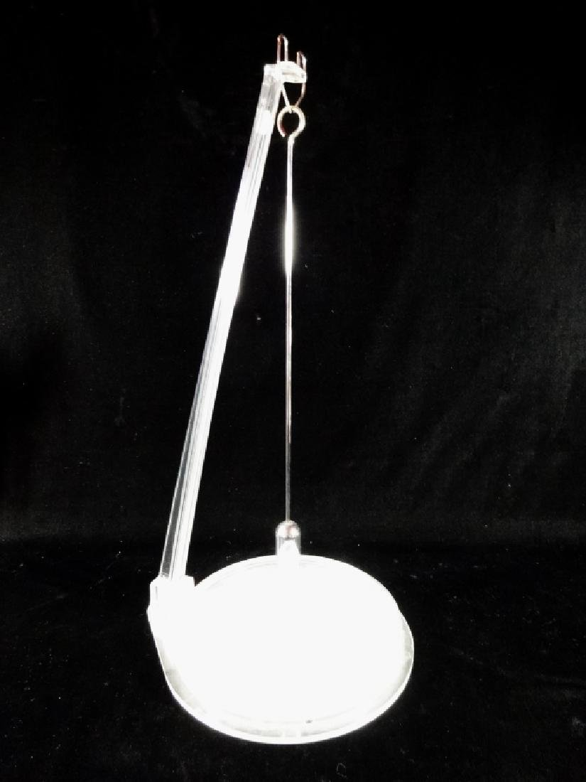 "VINTAGE LUCITE SAND PENDULUM, APPROX 22"" X 12"""