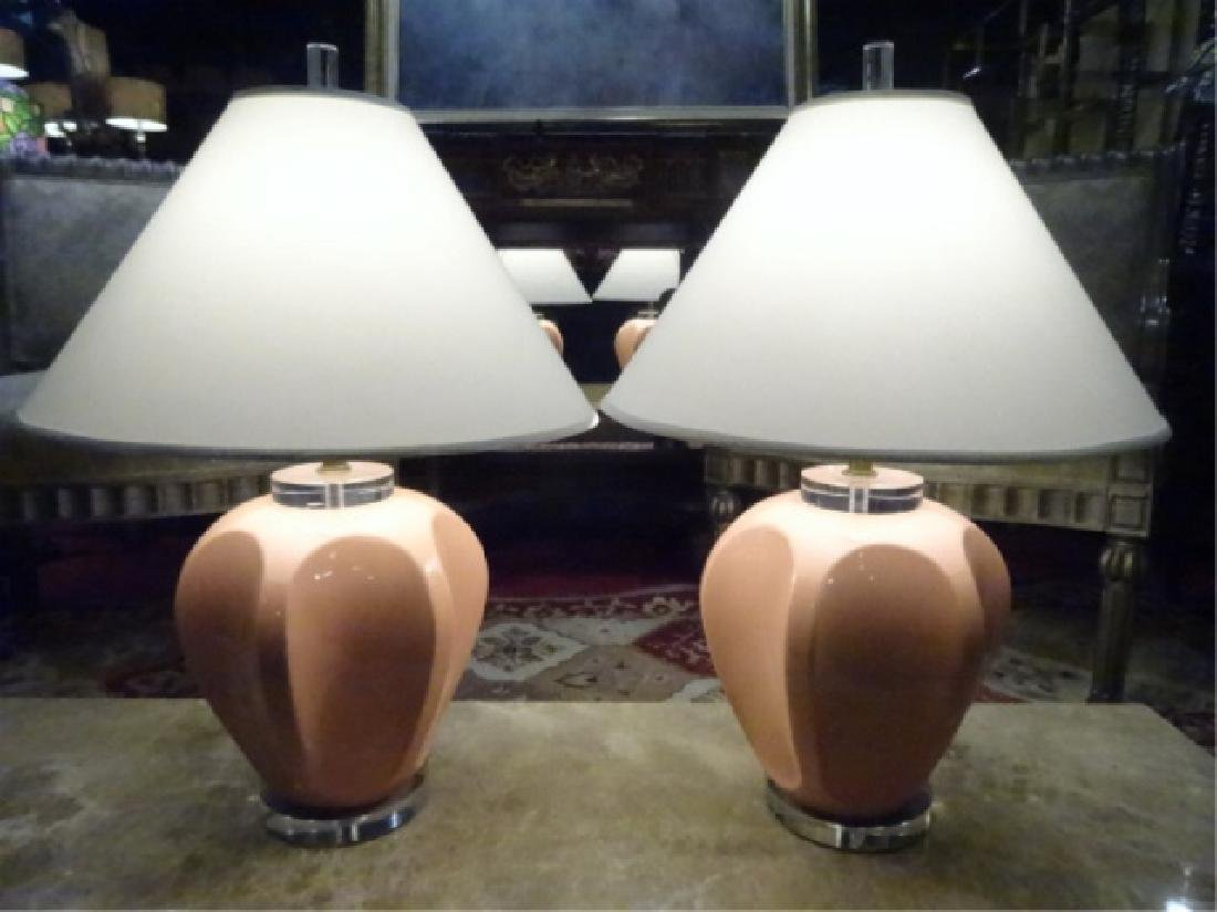PAIR VINTAGE CERAMIC AND LUCITE LAMPS, LUCITE BASES,