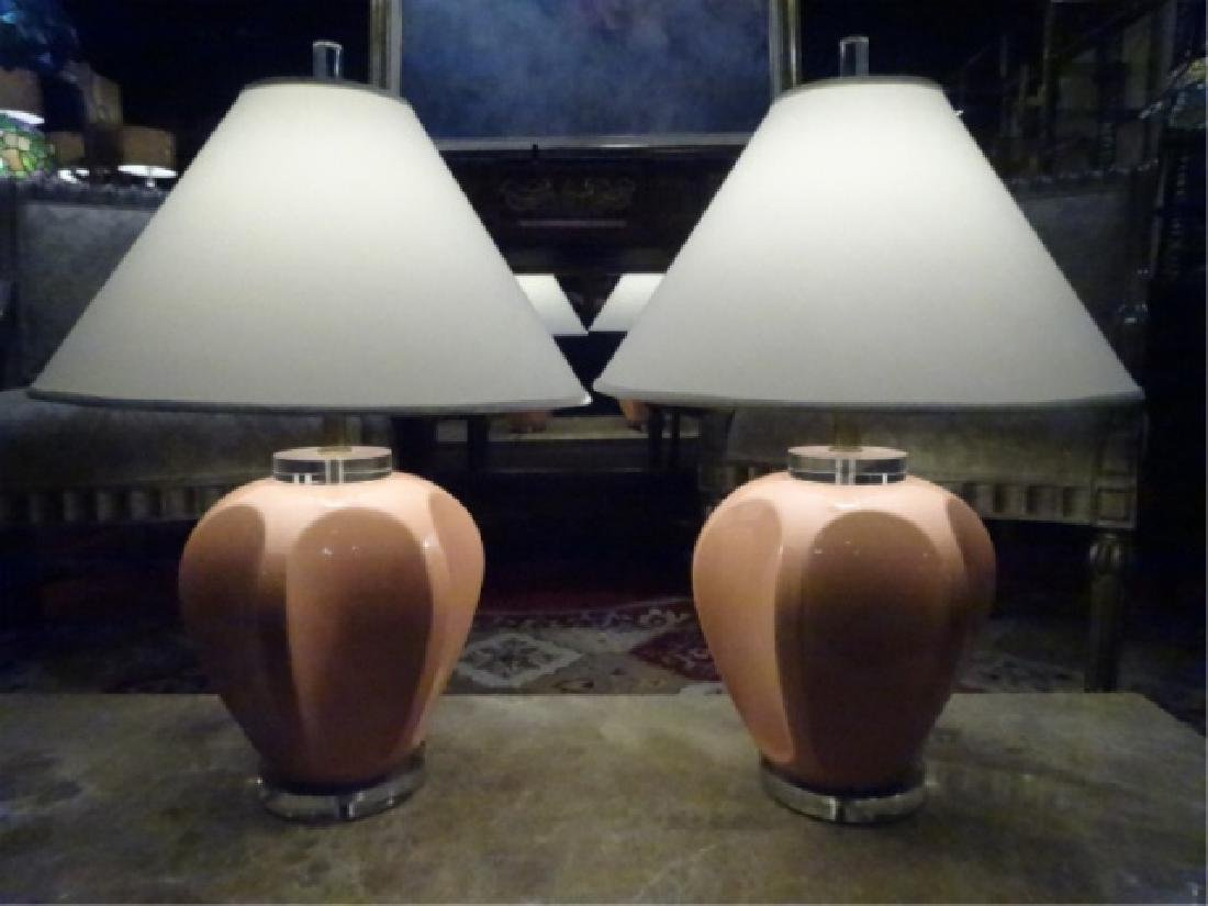 PAIR VINTAGE CERAMIC AND LUCITE LAMPS, LUCITE BASES, - 2