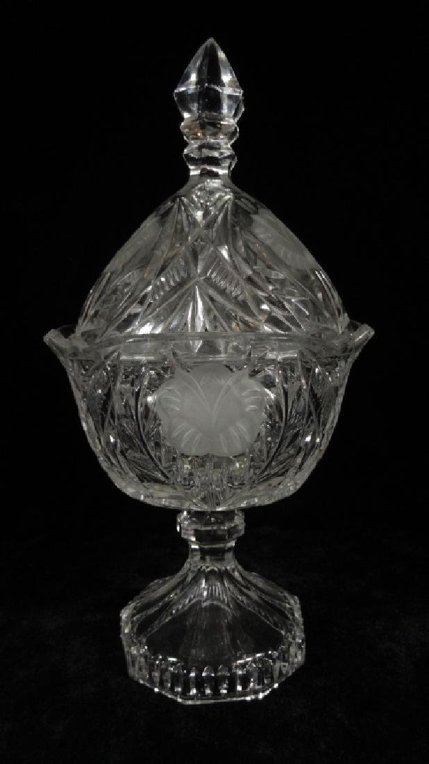 CRYSTAL COVERED CANDY DISH WITH LID, ON PEDESTAL BASE,