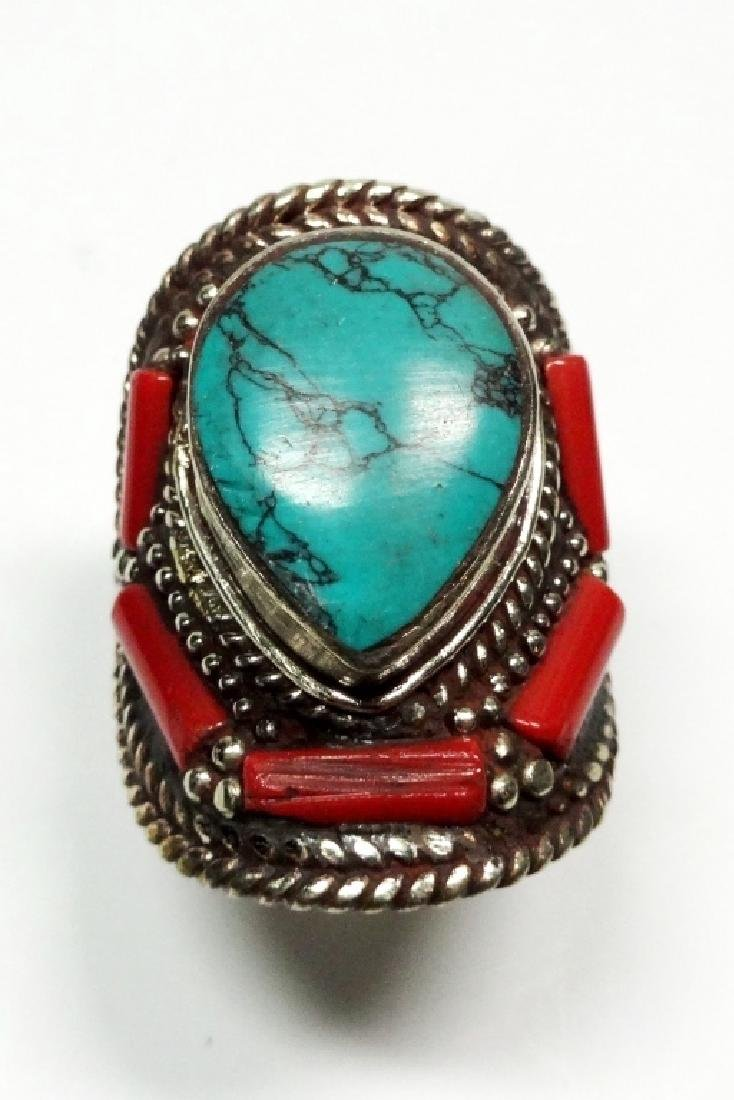 "TIBETAN TURQUOISE & CORAL RING, SIZE 9, APPROX 1 1/4"","