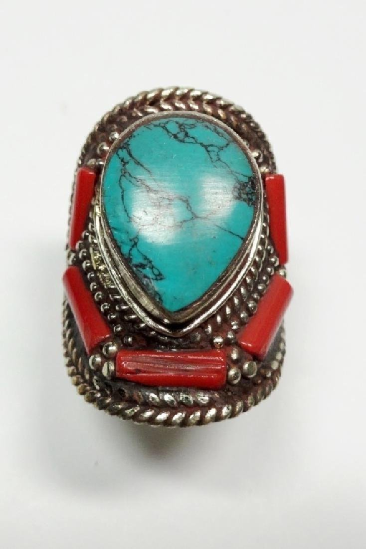 "TIBETAN TURQUOISE & CORAL RING, SIZE 9, APPROX 1 1/4"", - 2"