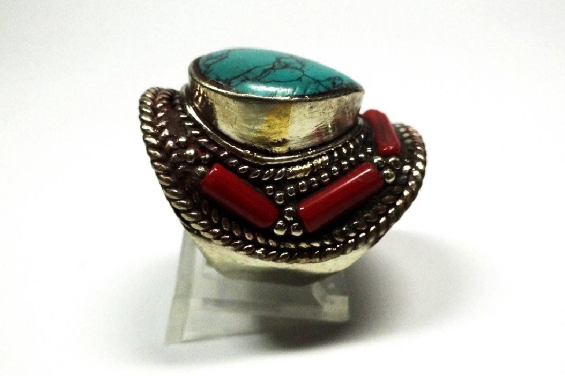 "TIBETAN TURQUOISE & CORAL RING, SIZE 9, APPROX 1 1/4"", - 3"