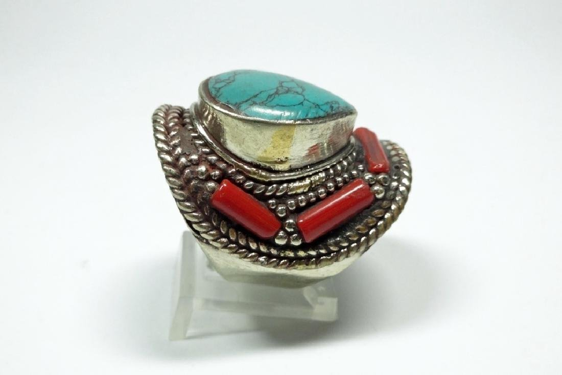 "TIBETAN TURQUOISE & CORAL RING, SIZE 9, APPROX 1 1/4"", - 4"