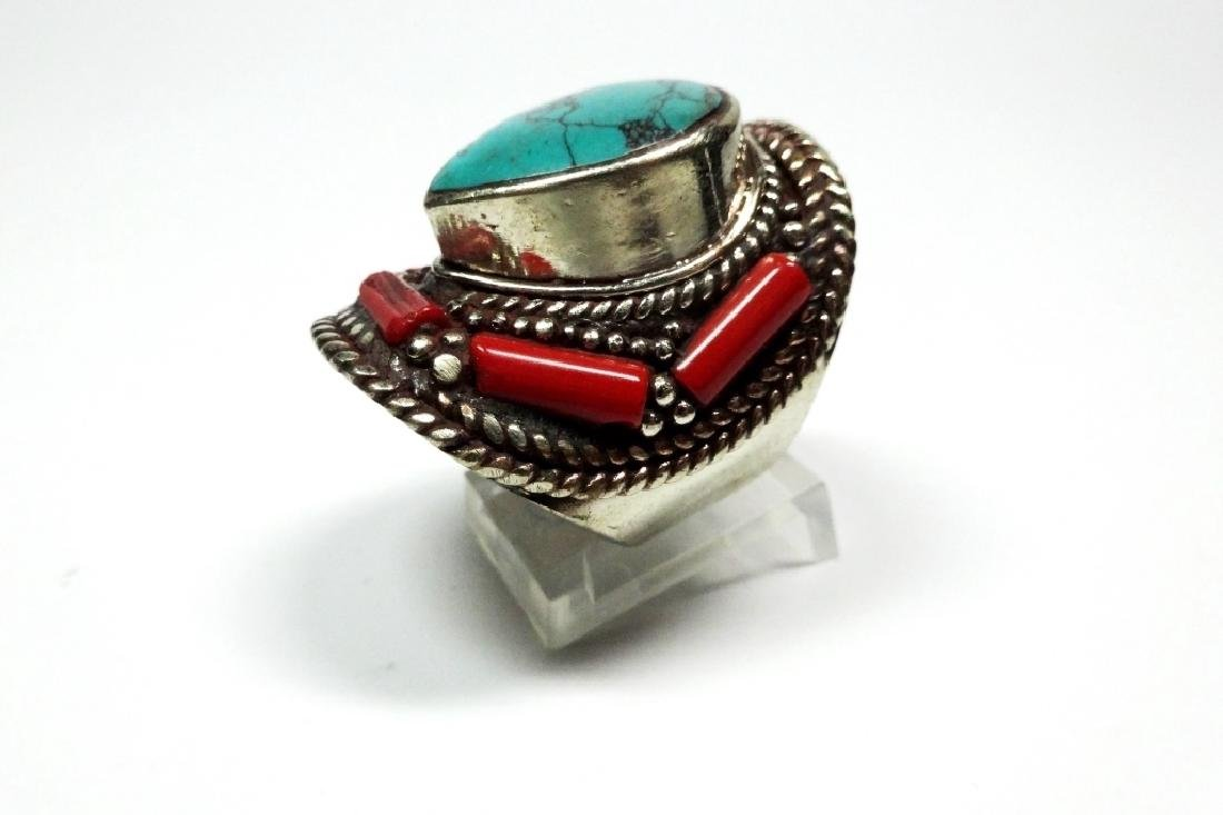 "TIBETAN TURQUOISE & CORAL RING, SIZE 9, APPROX 1 1/4"", - 5"