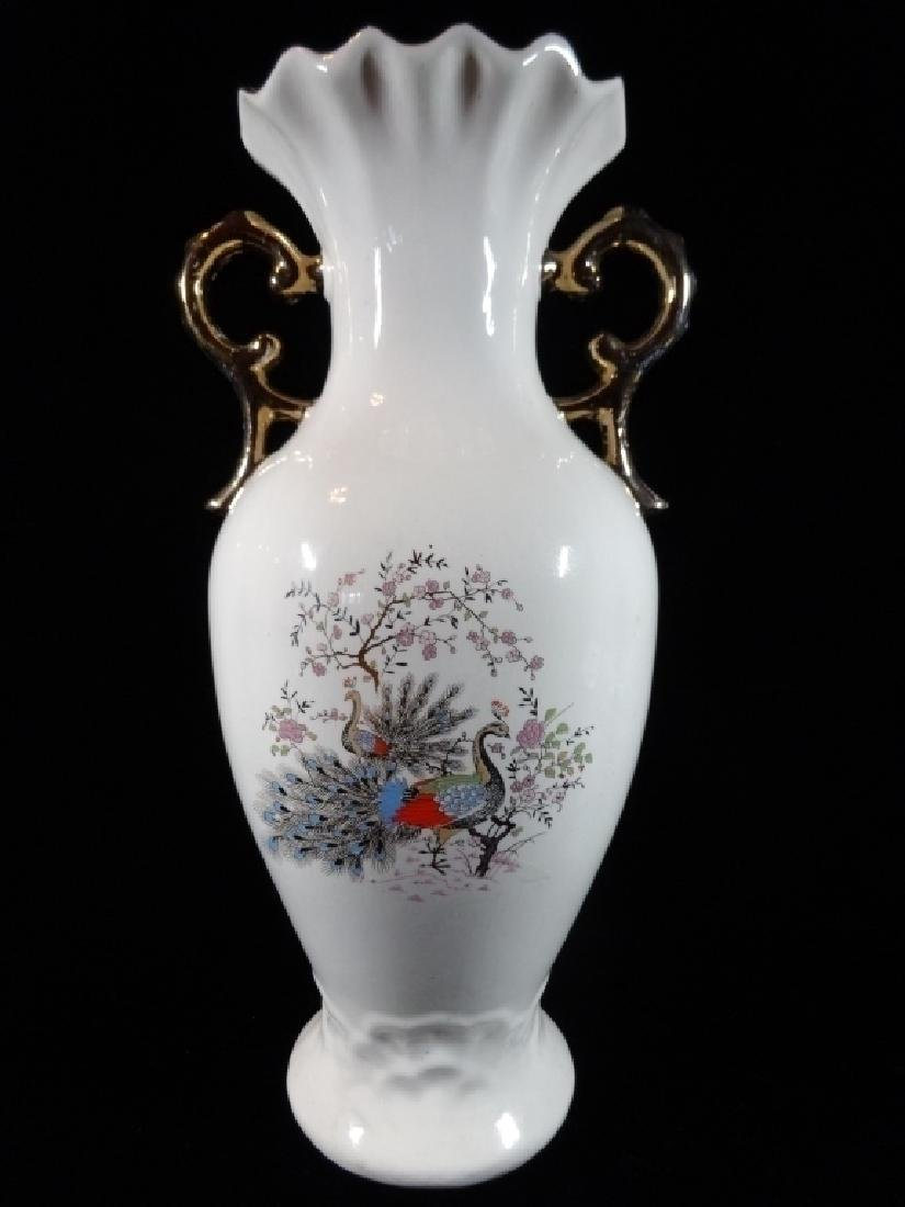CHINESE PORCELAIN VASE, PAINTED PEACOCKS, DUAL GOLD