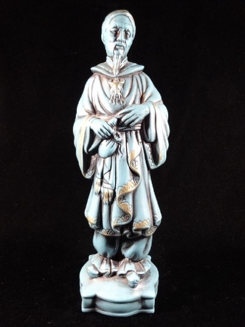 "CHINESE CERAMIC SCULPTURE, STANDING MAN IN ROBE, 16"" X"