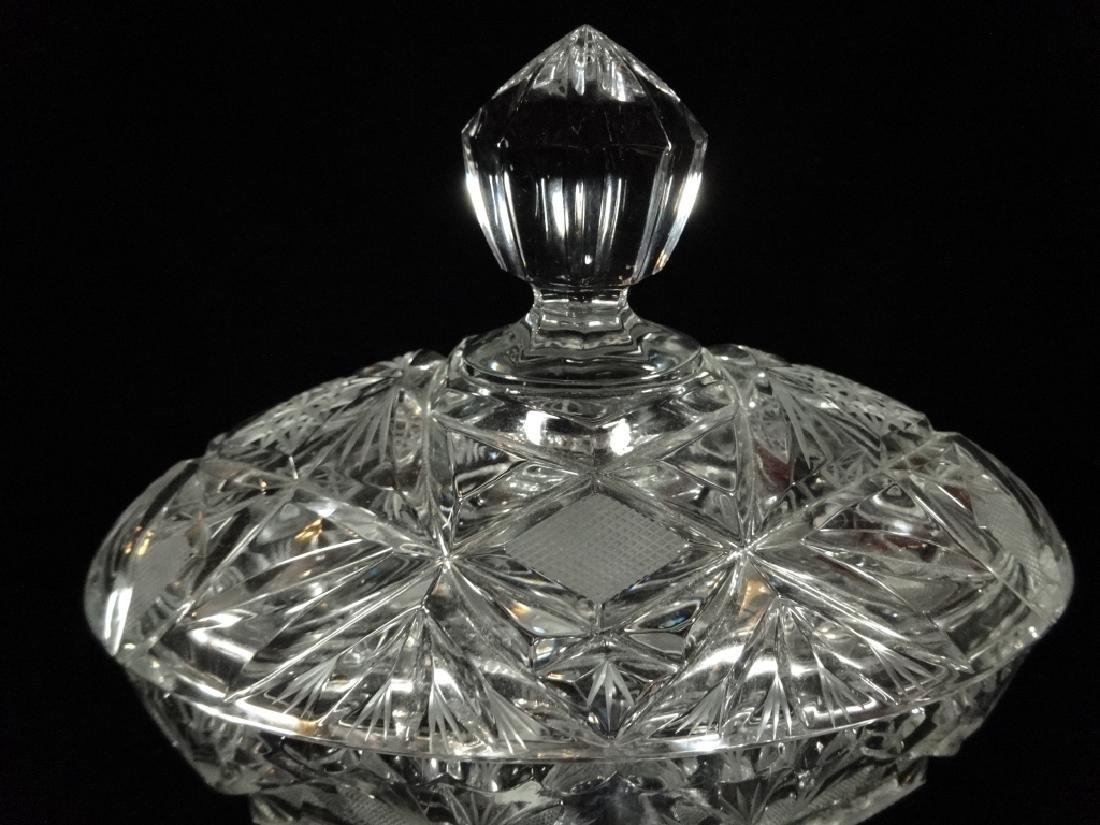 VINTAGE OVAL CRYSTAL FOOTED BOWL WITH LID, VERY GOOD - 2