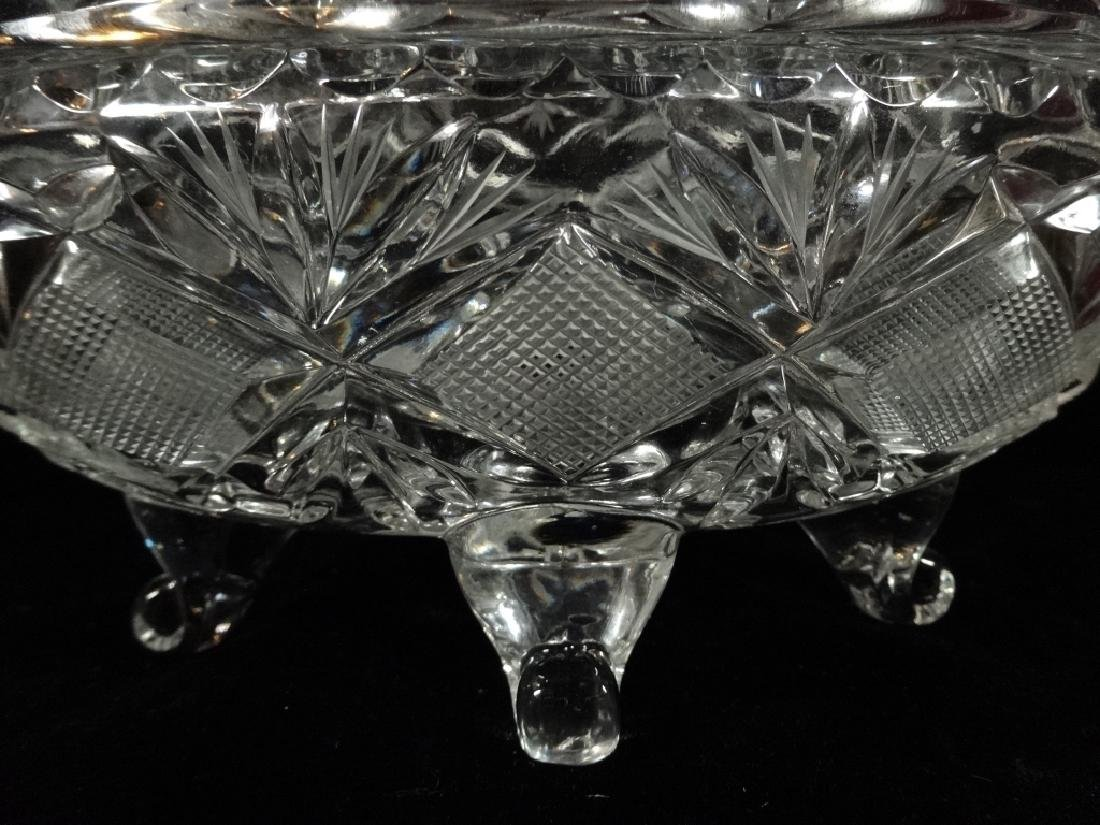 VINTAGE OVAL CRYSTAL FOOTED BOWL WITH LID, VERY GOOD - 4