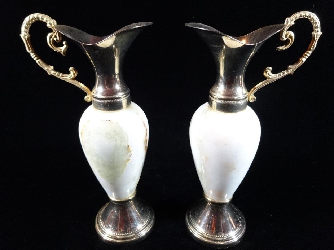 PAIR ITALIAN ONYX AND BRASS EWERS, LABELED MADE IN