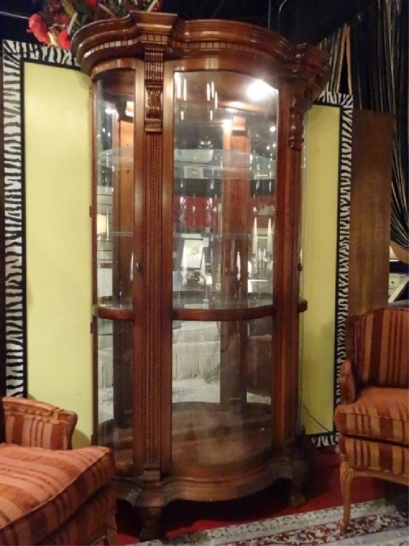 LIGHTED DISPLAY CABINET, CURVED GLASS DOORS, MIRRORED