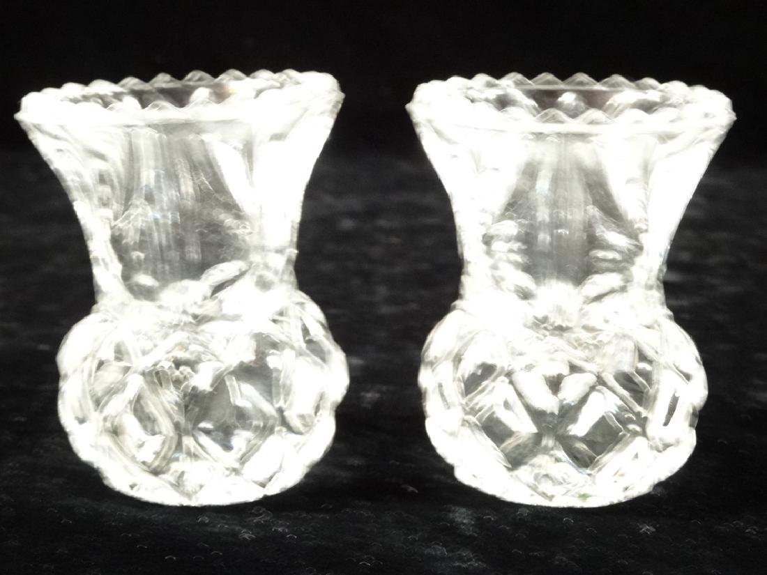 2 CRYSTAL TOOTH PICK HOLDERS, VERY GOOD CONDITION WITH - 2