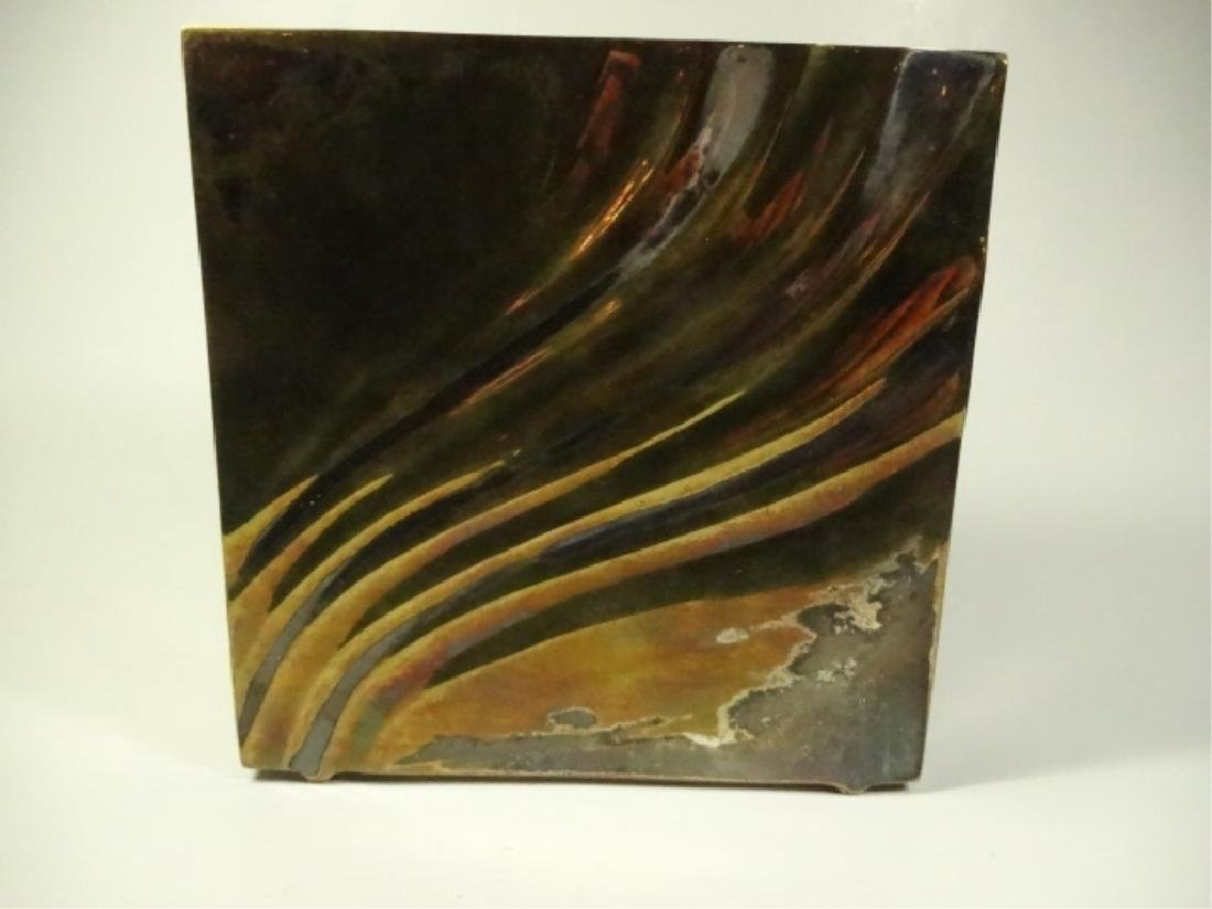 """SQUARE METAL VASE, SILVER & BRASS FINISH, APPROX 6"""" X"""