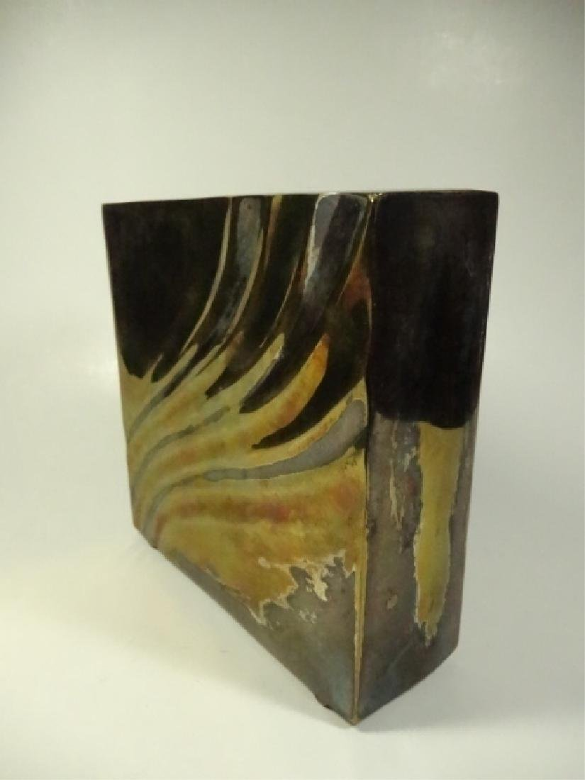 """SQUARE METAL VASE, SILVER & BRASS FINISH, APPROX 6"""" X - 2"""