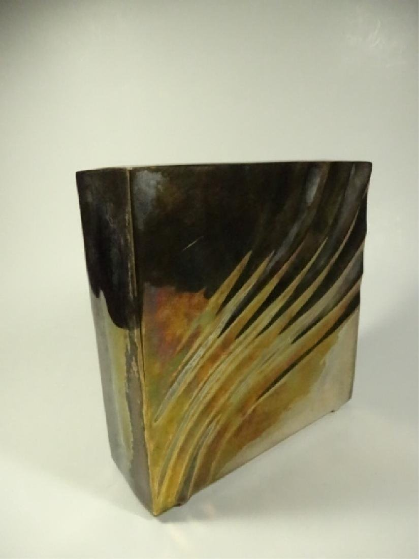 """SQUARE METAL VASE, SILVER & BRASS FINISH, APPROX 6"""" X - 3"""