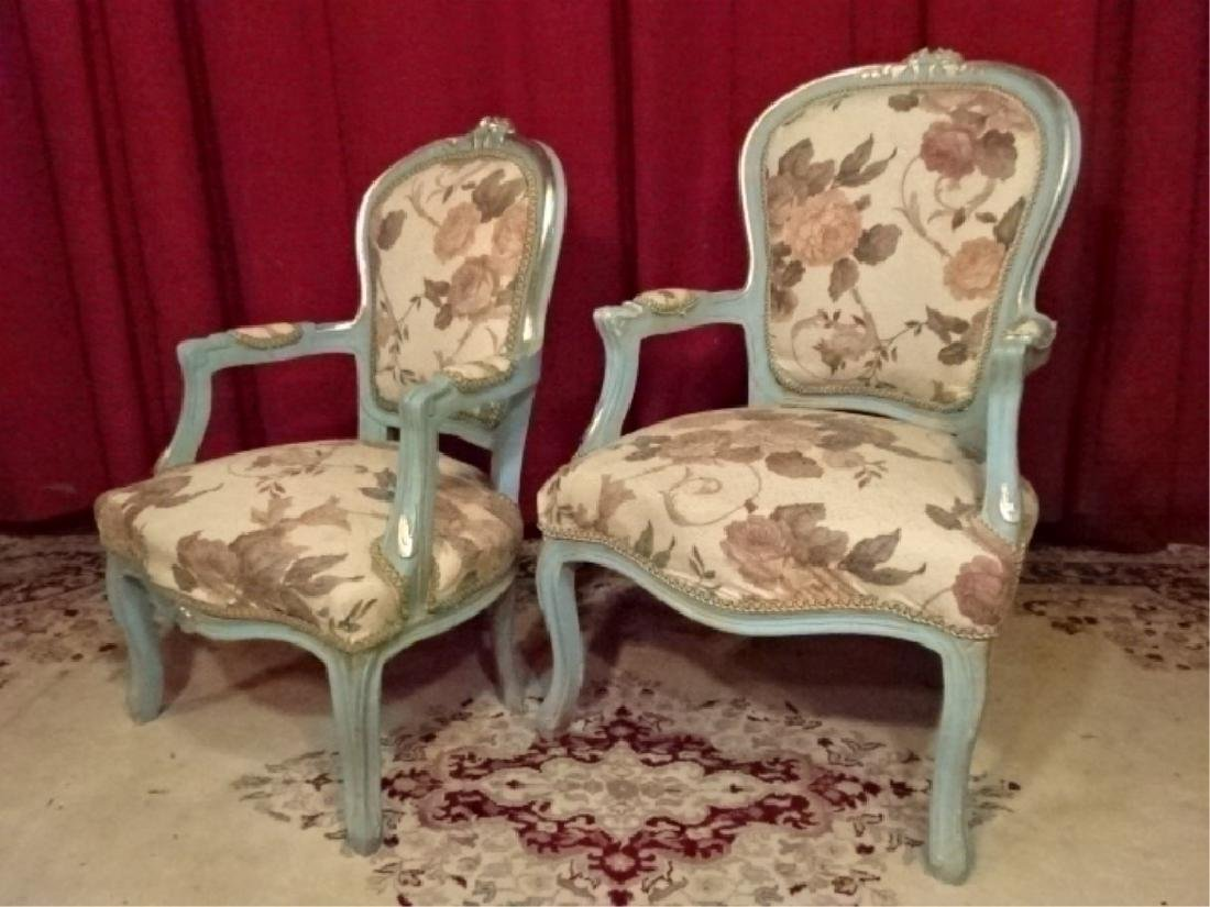 2 PC LOUIS XV STYLE FAUTEUIL ARM CHAIRS, GENTLEMAN AND