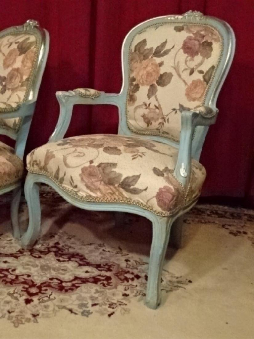 2 PC LOUIS XV STYLE FAUTEUIL ARM CHAIRS, GENTLEMAN AND - 2