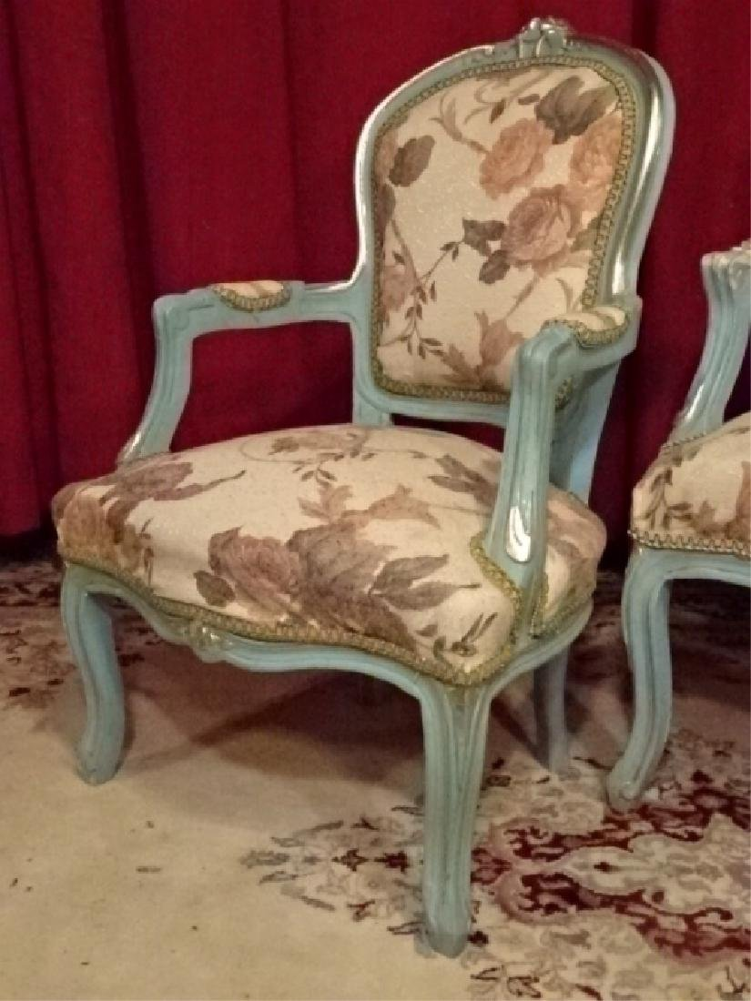 2 PC LOUIS XV STYLE FAUTEUIL ARM CHAIRS, GENTLEMAN AND - 3