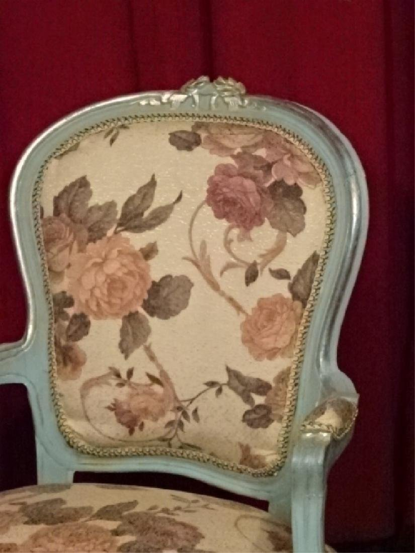 2 PC LOUIS XV STYLE FAUTEUIL ARM CHAIRS, GENTLEMAN AND - 4
