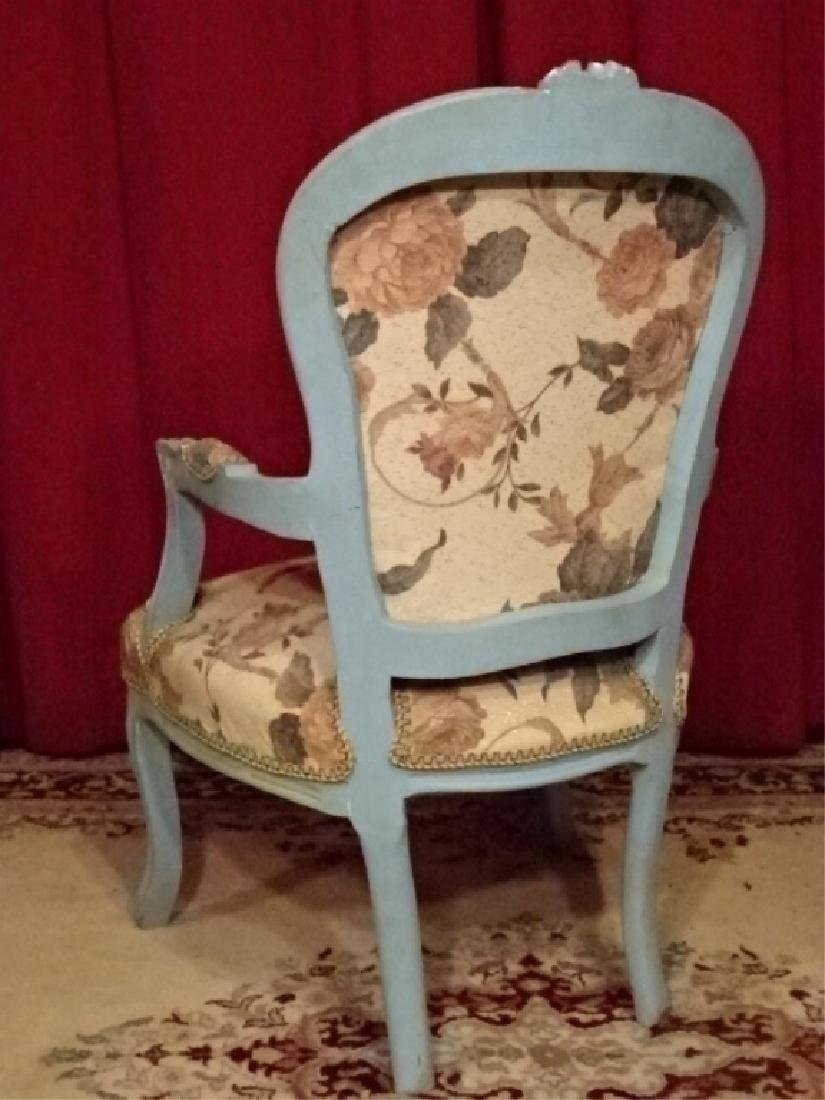 2 PC LOUIS XV STYLE FAUTEUIL ARM CHAIRS, GENTLEMAN AND - 6