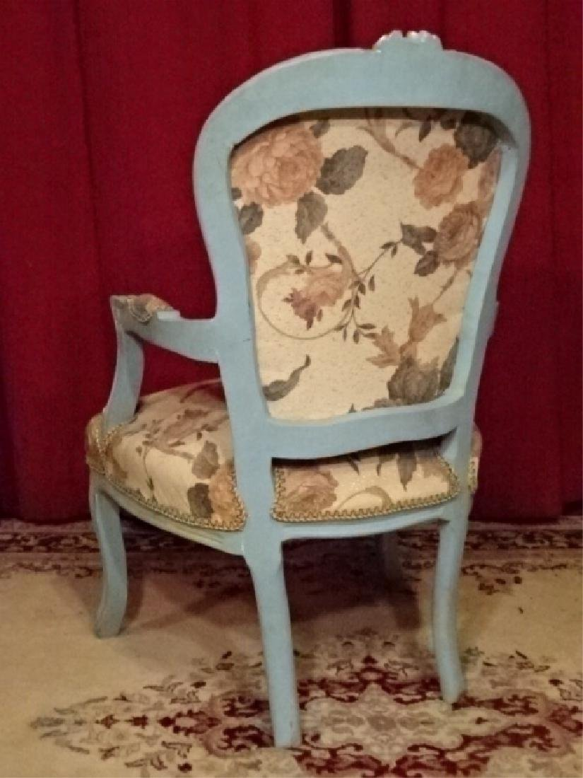 2 PC LOUIS XV STYLE FAUTEUIL ARM CHAIRS, GENTLEMAN AND - 7