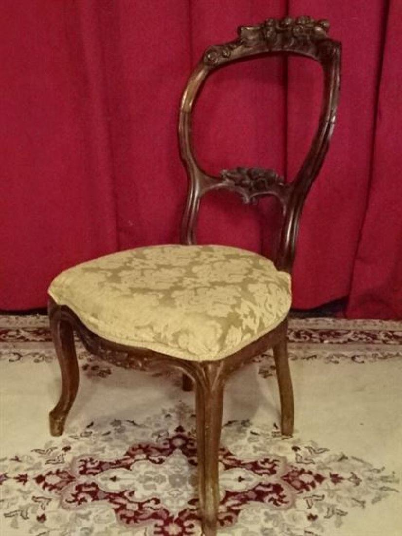 VICTORIAN PARLOR CHAIR, CARVED WOOD FRAME, VERY GOOD