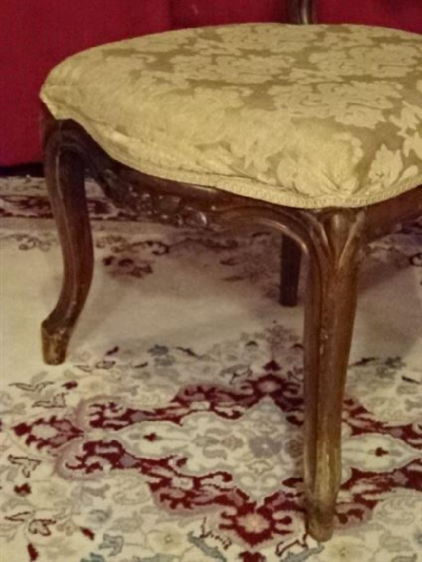 VICTORIAN PARLOR CHAIR, CARVED WOOD FRAME, VERY GOOD - 3