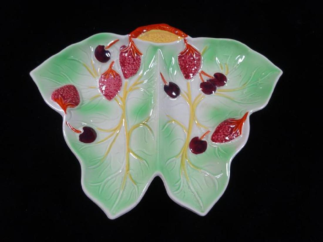 2 PC ENGLISH CERAMIC SERVING PLATES, HAND PAINTED, VERY - 3