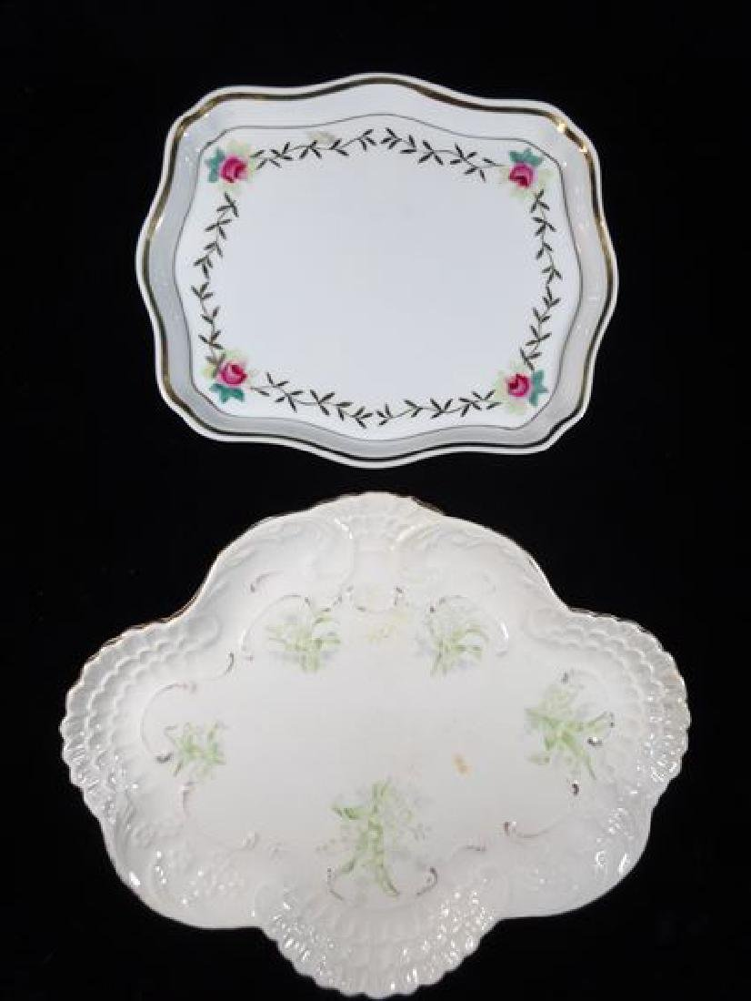 2 PORCELAIN PLATES, PAINTED WITH FLORALS ON WHITE, VERY