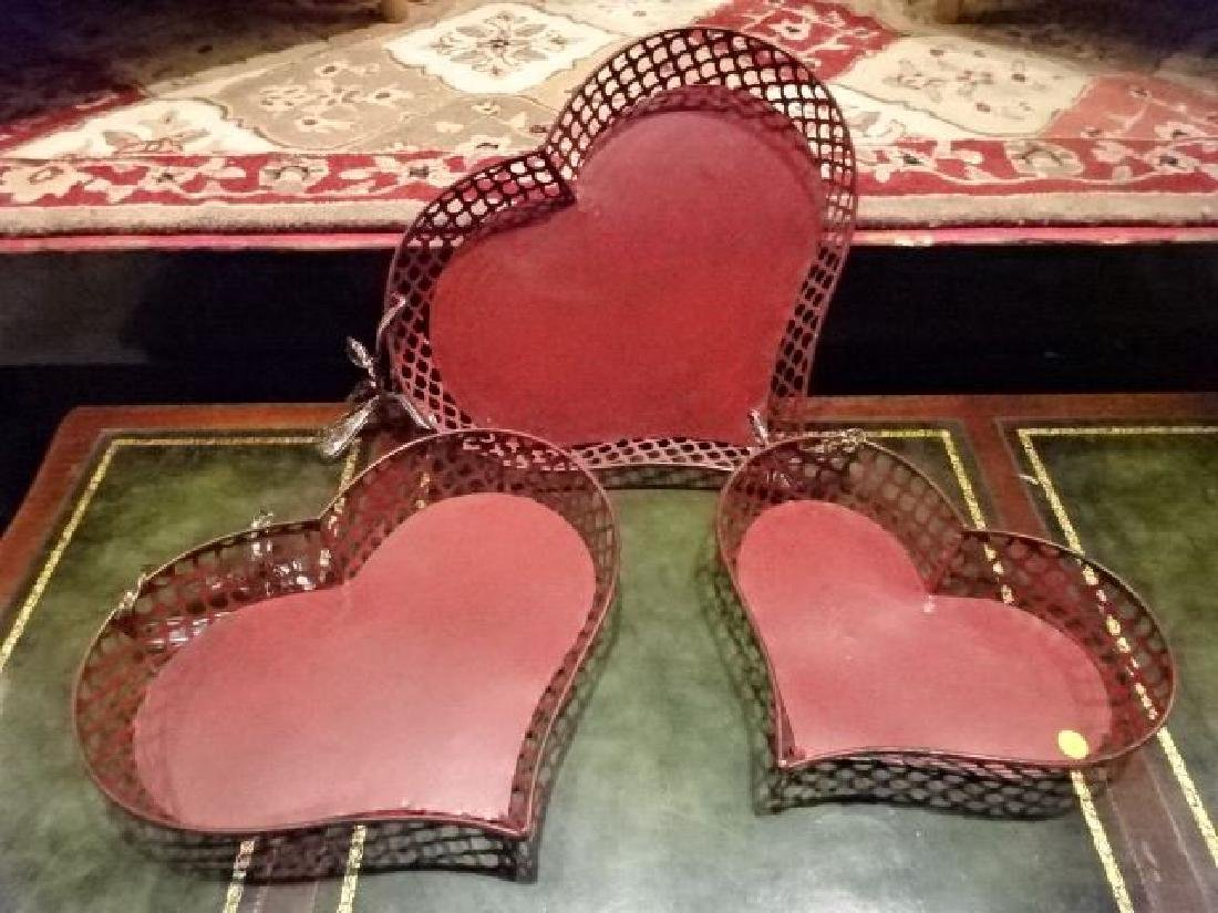 3 METAL HEART SHAPE TRAYS, RD FINISH, GOOD CONDITION,