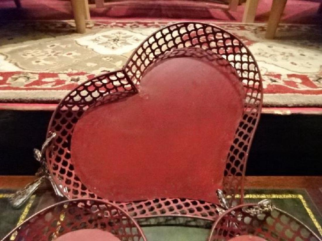 3 METAL HEART SHAPE TRAYS, RD FINISH, GOOD CONDITION, - 2