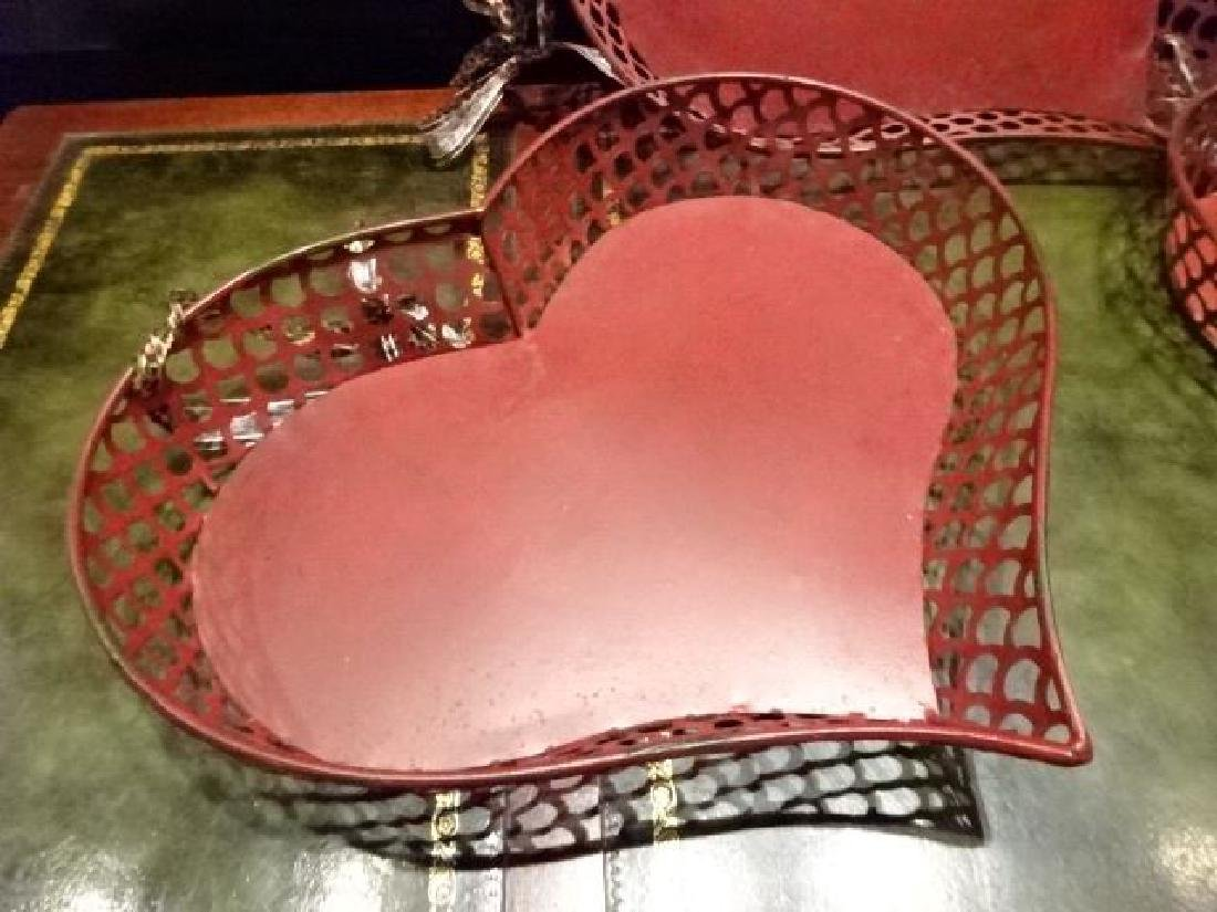 3 METAL HEART SHAPE TRAYS, RD FINISH, GOOD CONDITION, - 3