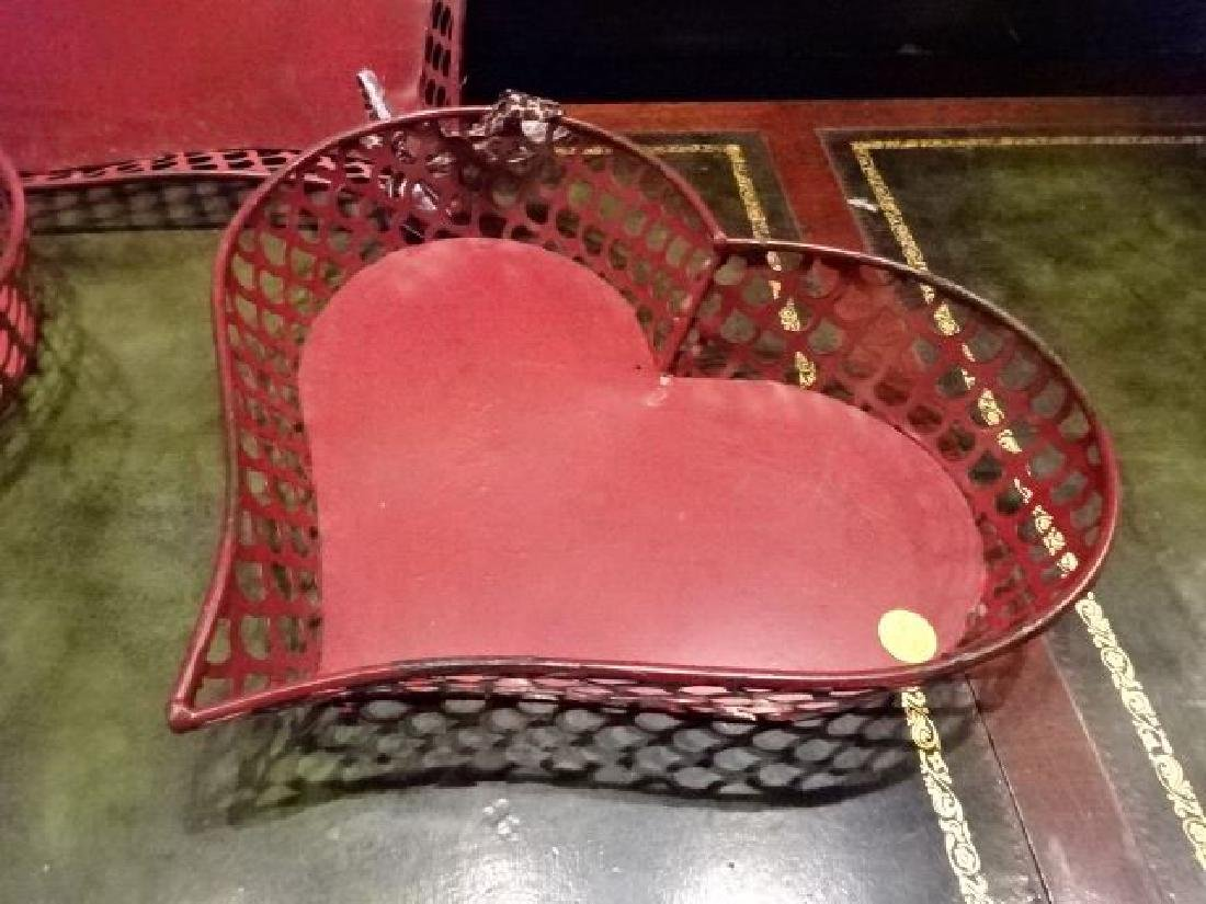 3 METAL HEART SHAPE TRAYS, RD FINISH, GOOD CONDITION, - 4