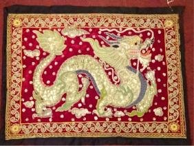Asian Embroidered Dragon Tapestry / Pillow Case,